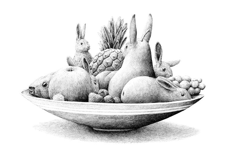 redmer hoekstra 2014 17 konijnen fruitschaal